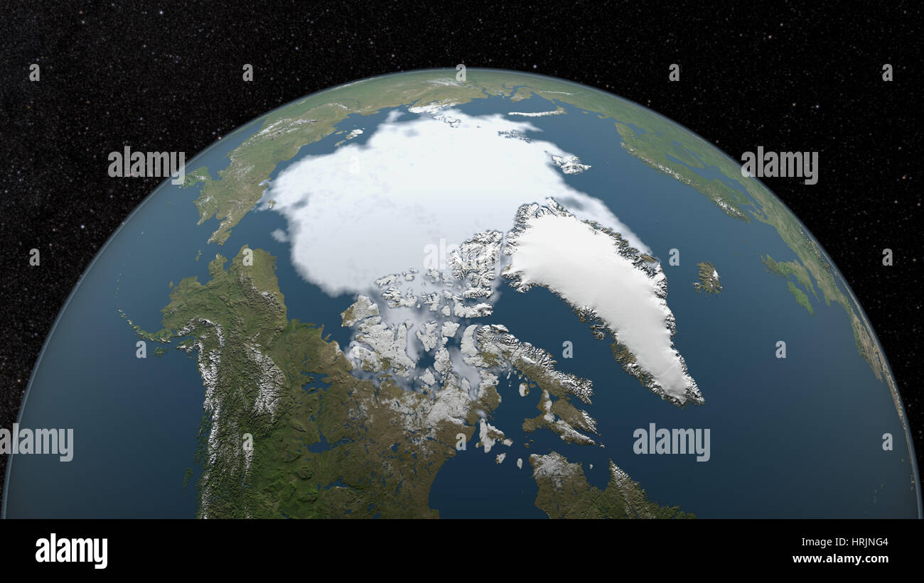 Arctic Minimum Sea Ice, 1982 - Stock Image