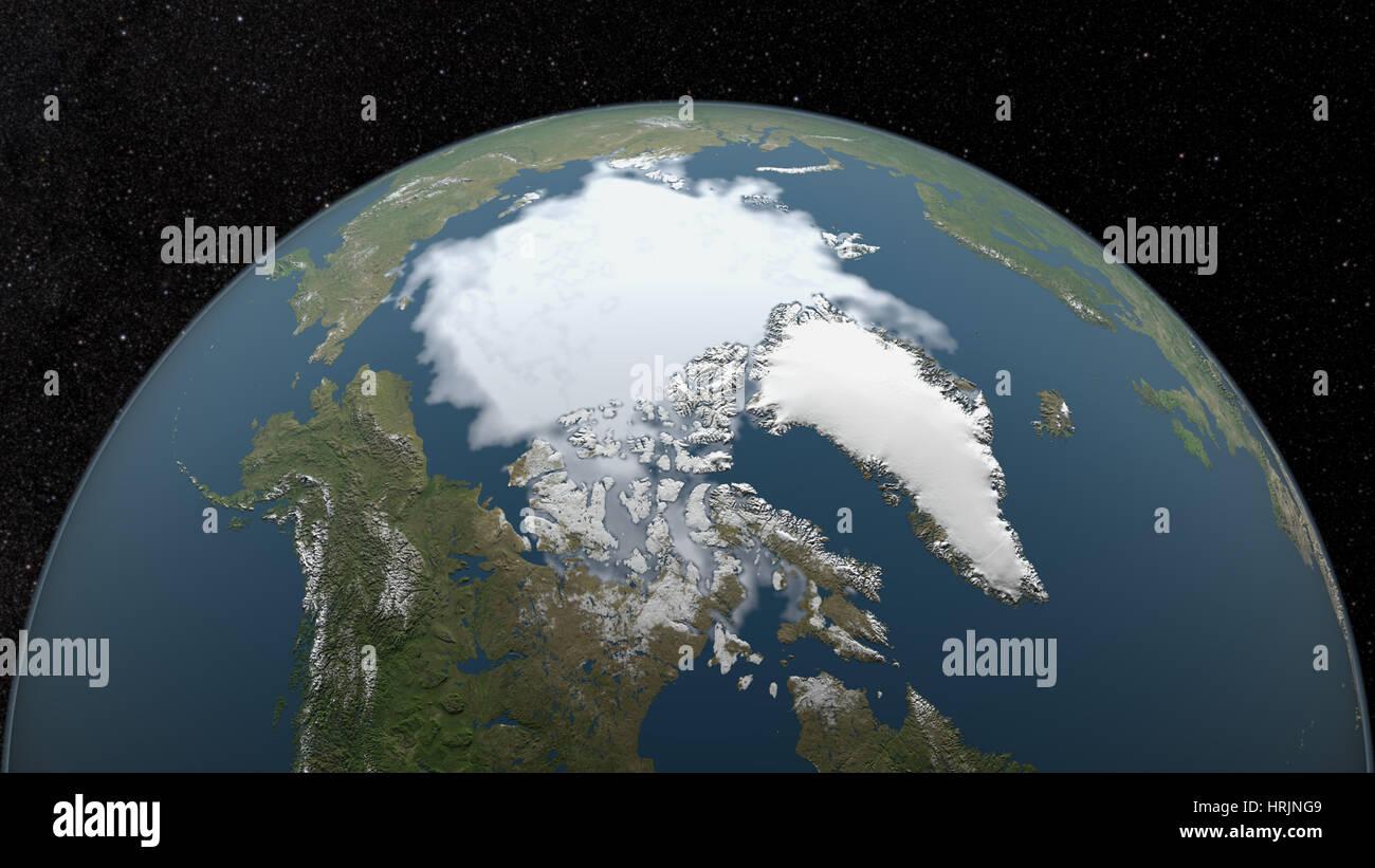 Arctic Minimum Sea Ice, 1987 - Stock Image