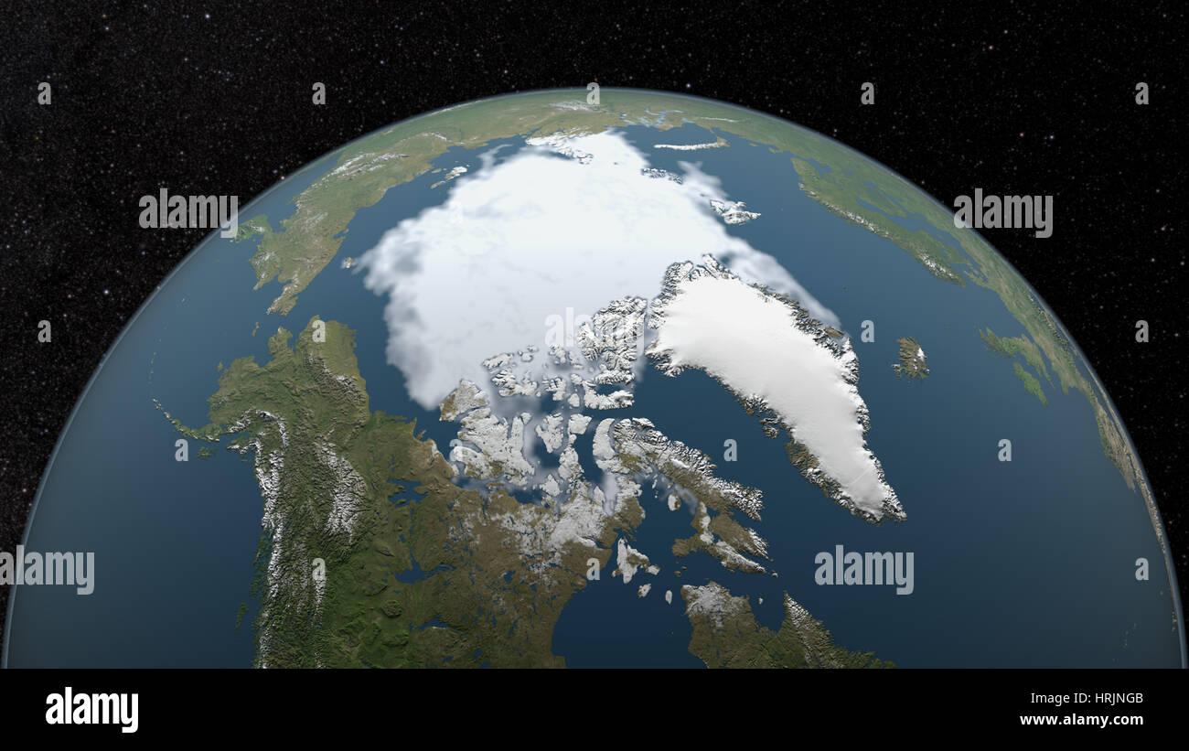 Arctic Minimum Sea Ice, 1989 - Stock Image