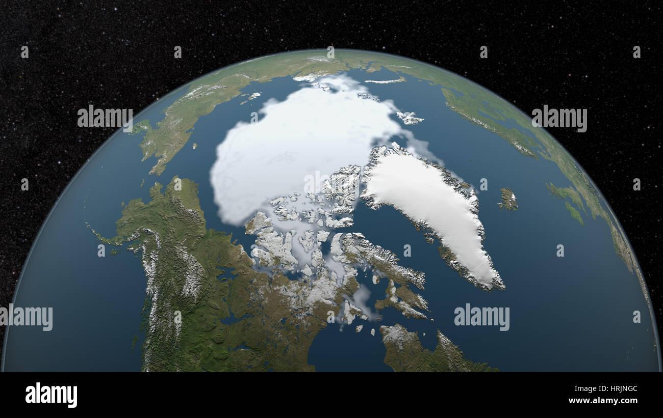 Arctic Minimum Sea Ice, 1990 - Stock Image