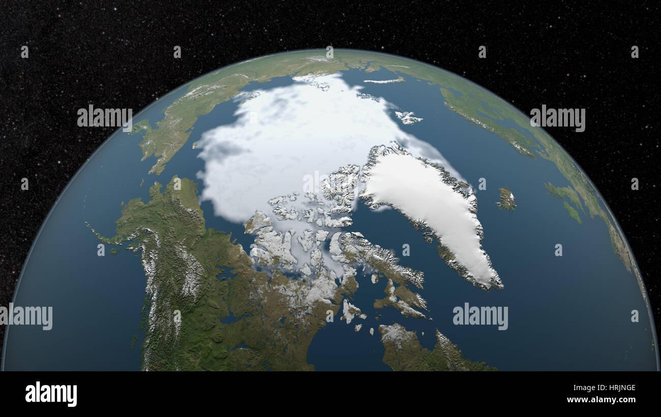 Arctic Minimum Sea Ice, 1992 - Stock Image