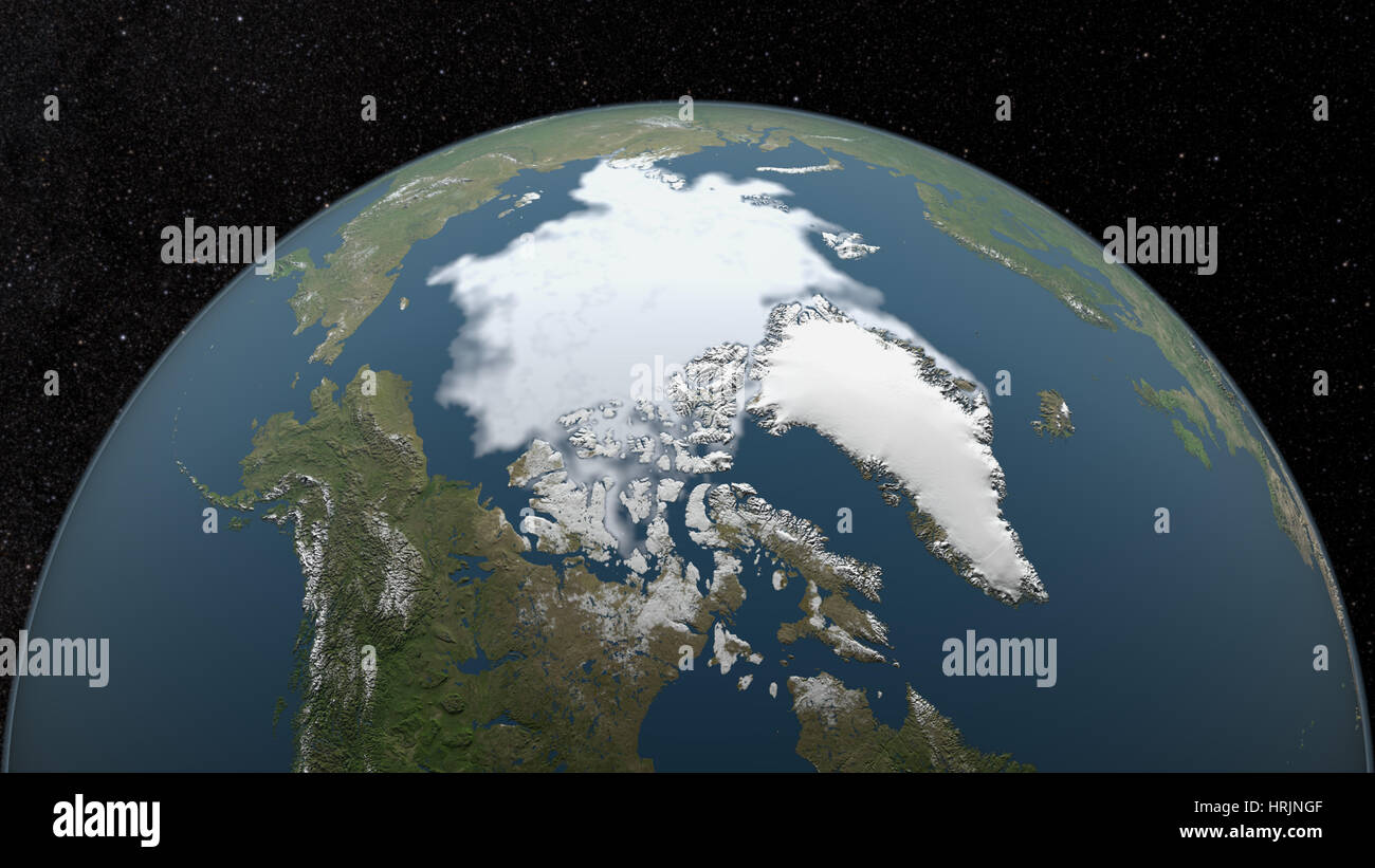 Arctic Minimum Sea Ice, 1993 - Stock Image