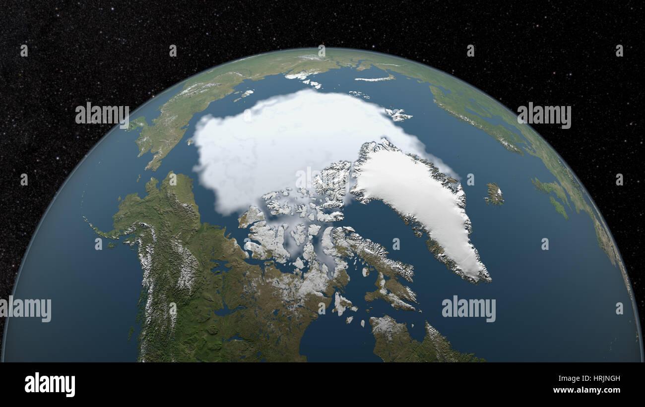 Arctic Minimum Sea Ice, 1995 - Stock Image