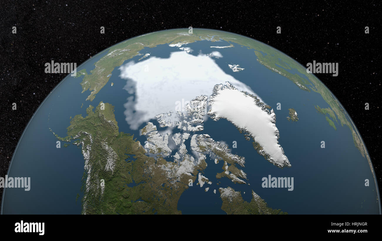 Arctic Minimum Sea Ice, 1999 - Stock Image