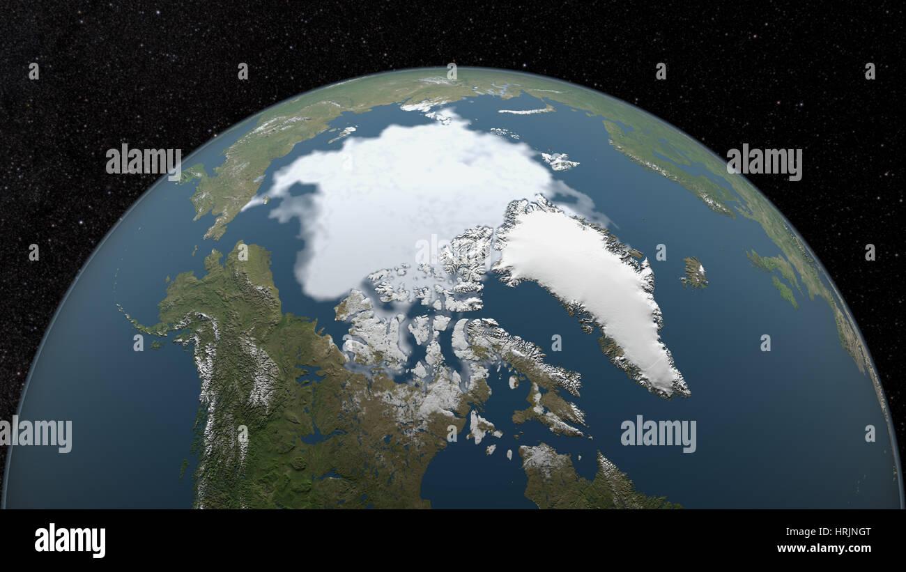 Arctic Minimum Sea Ice, 2000 - Stock Image