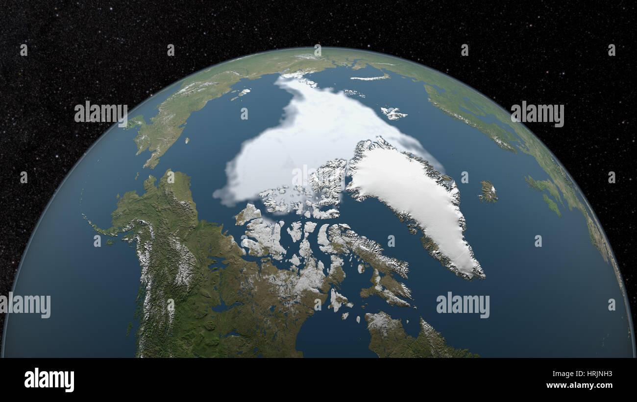 Arctic Minimum Sea Ice, 2007 - Stock Image