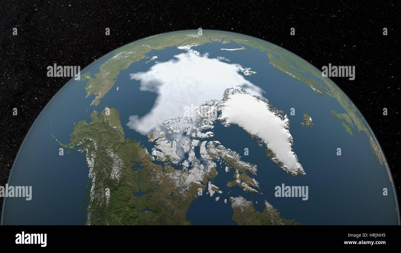 Arctic Minimum Sea Ice, 2009 - Stock Image