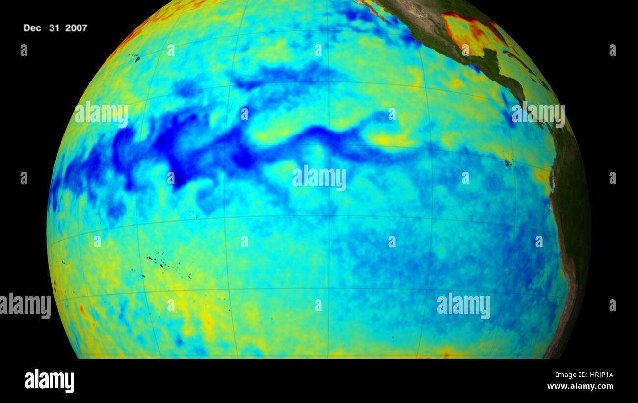 La Ni̱a, Pacific Ocean Temperatures, 2007 - Stock Image