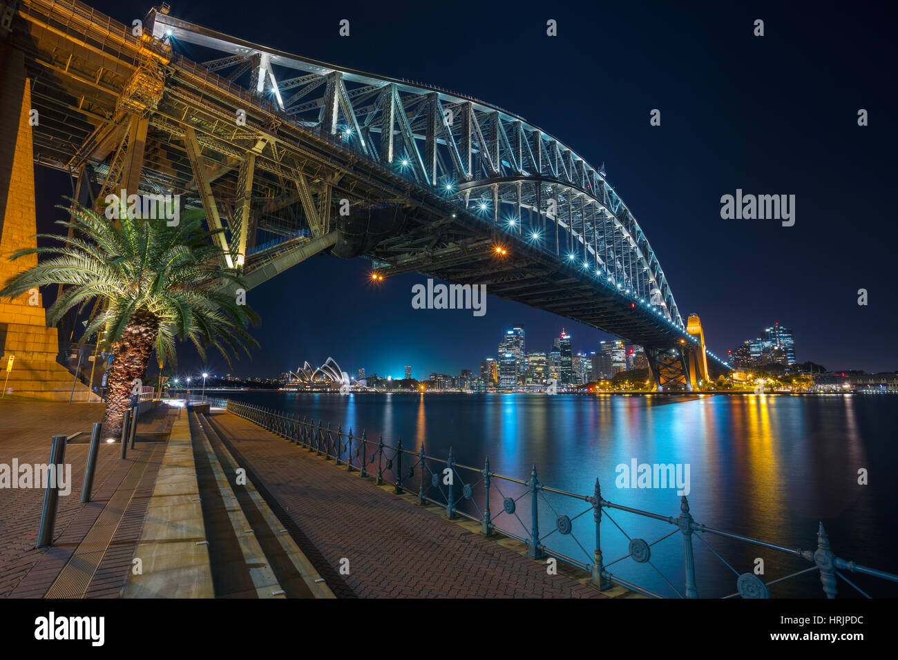 Sydney. Cityscape image of Sydney, Australia with Harbour Bridge at night. - Stock Image