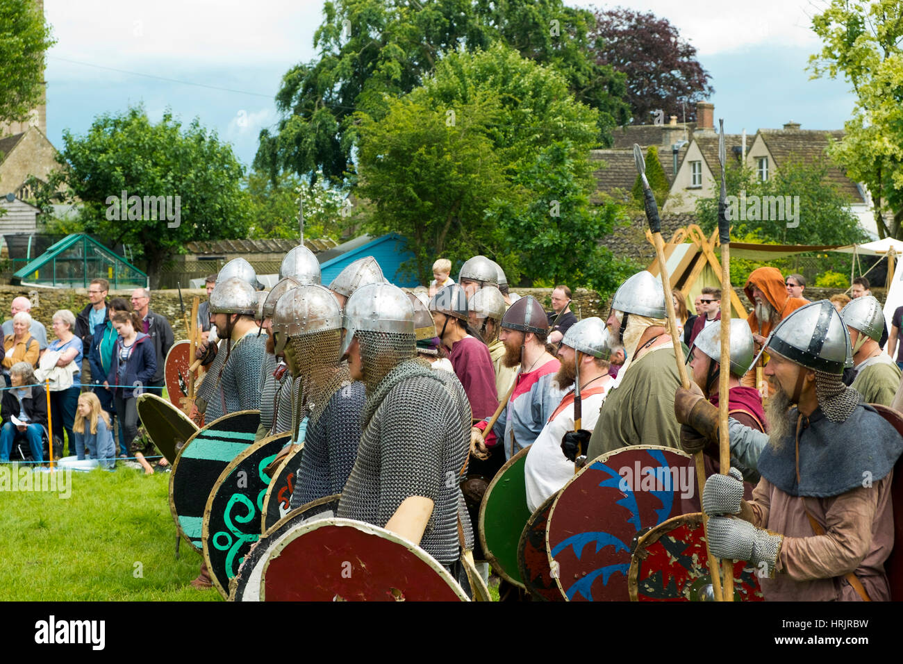 Sherston, Wiltshire, UK - 25th June 2016: Viking re-enactors celebrate the battle that took place in 1016 when Cnut - Stock Image