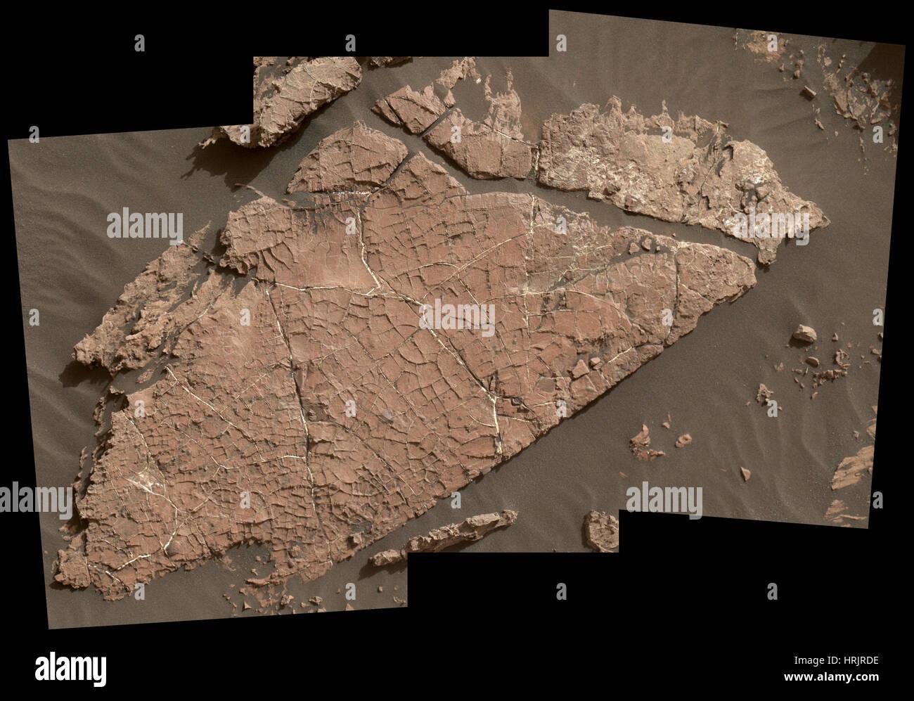 Cracks in Martian Rock - Stock Image