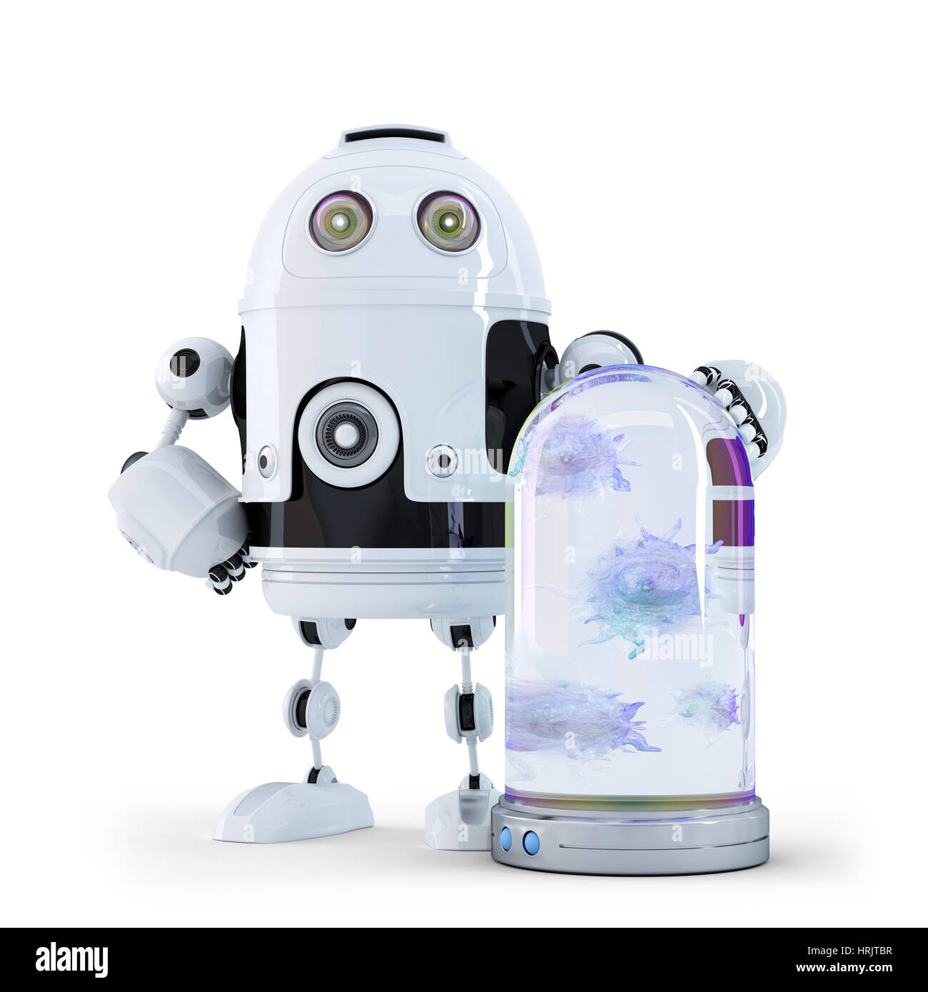 Robot and viruses caught in the container. Technology concep - Stock Image