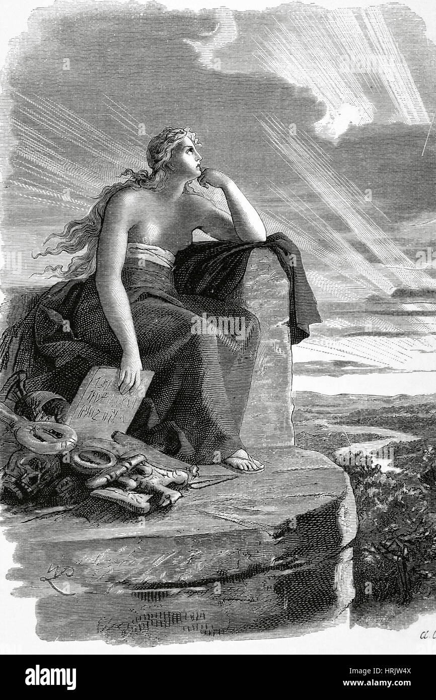 Veleda. Priestess and prophet of the Germanic tribe of the Bructeri. She achieved  prominence during the Batavian - Stock Image