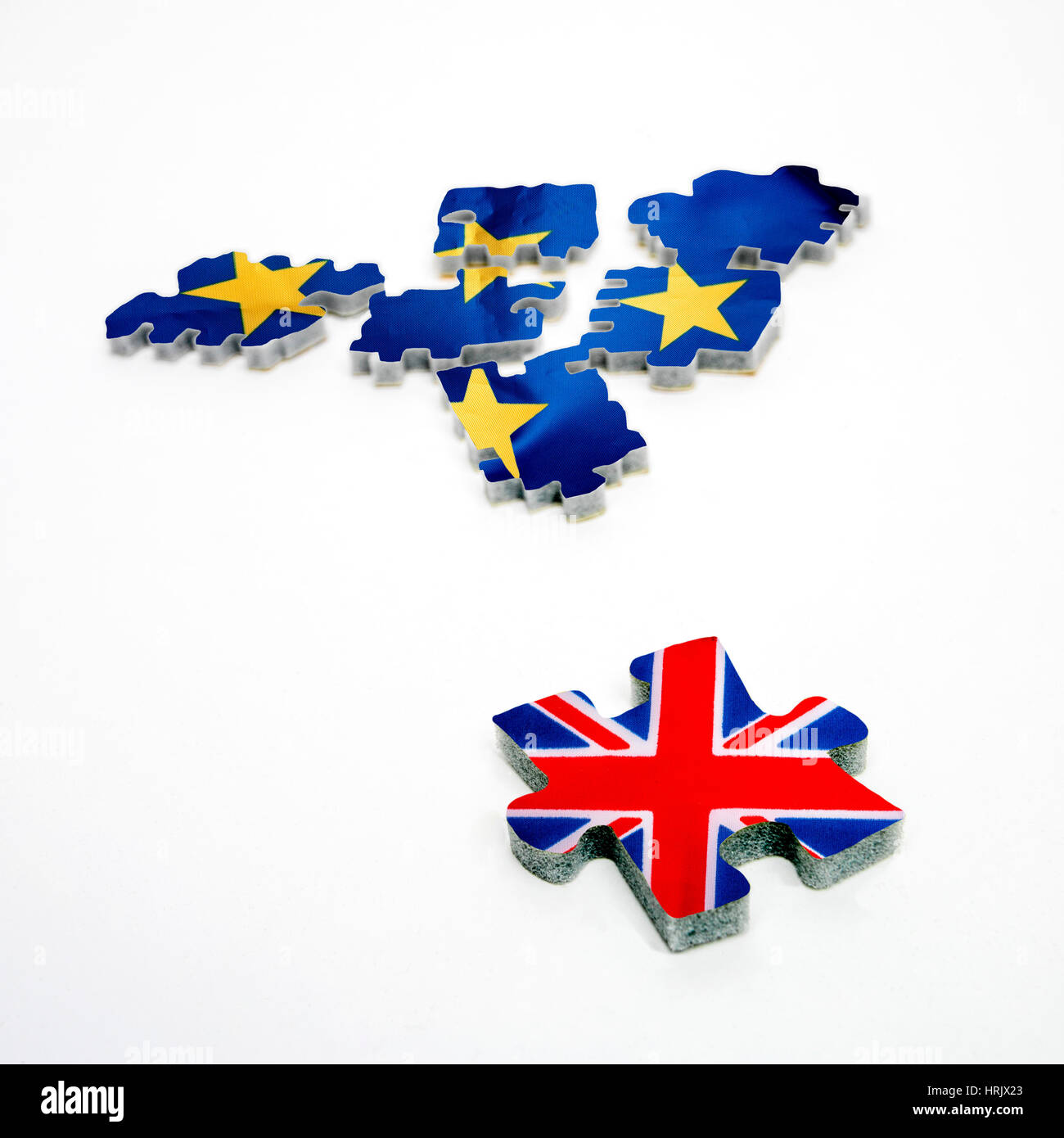 Brexit. Flags of European Union and United Kingdom - Stock Image