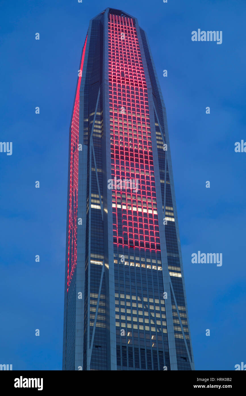 Ping An International Finance Centre (world's 4th tallest building in 2017 at 600m), Futian, Shenzhen, Guangdong, - Stock Image