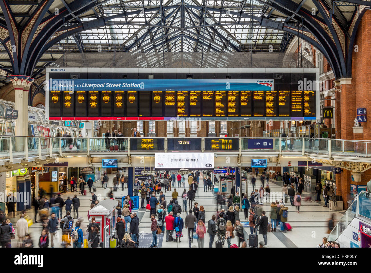 Liverpool Street Station Concourse, London England UK - Stock Image