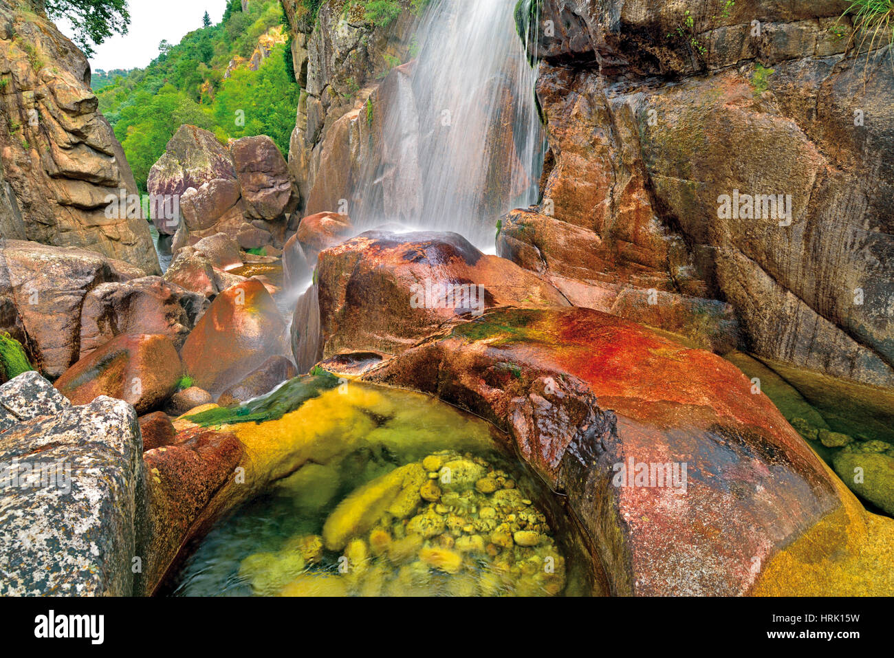 Wild ravine and waterfall with cristaline mountain water - Stock Image