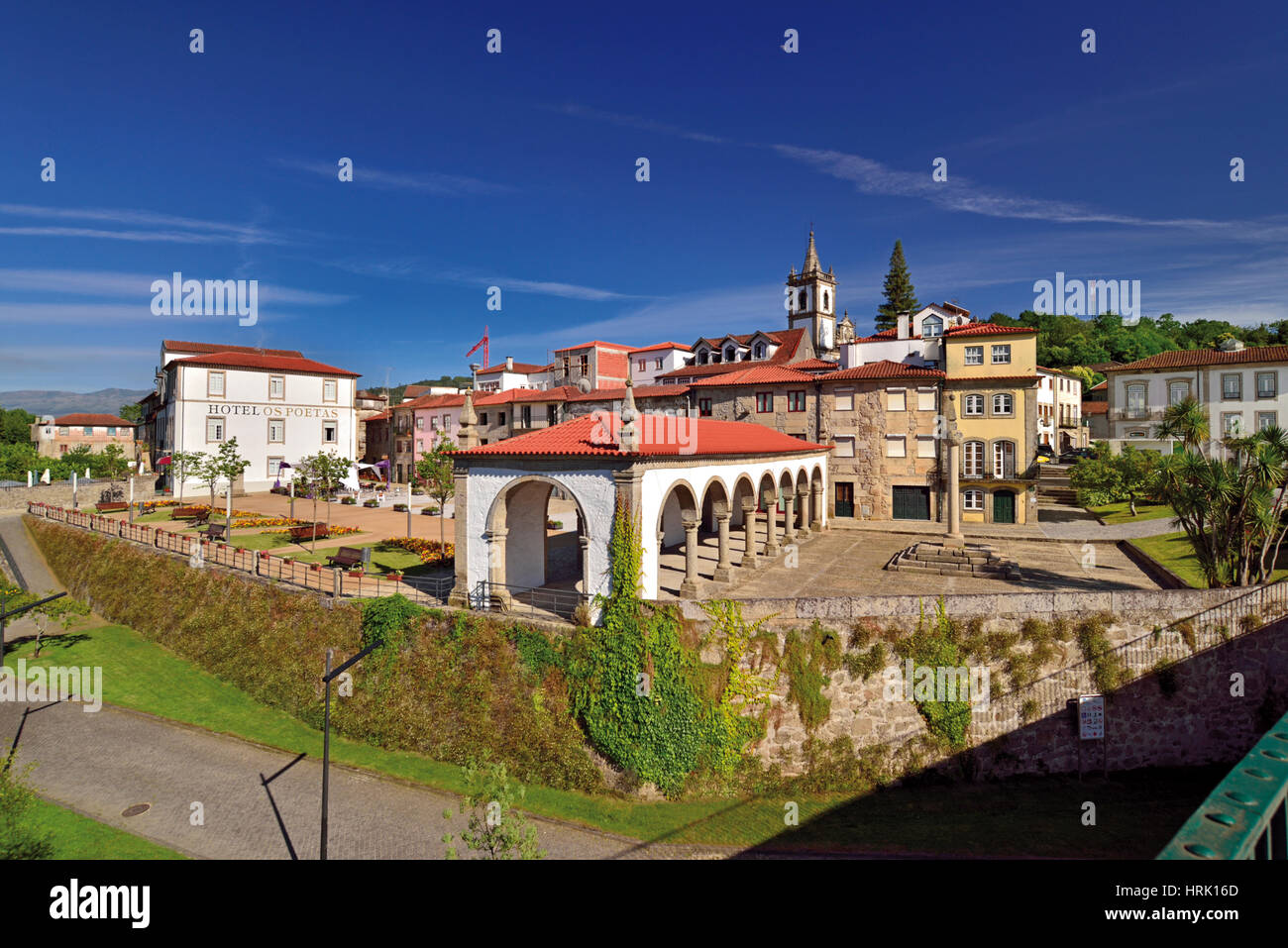 Town view of charming Ponte da Barca in Portugals Minho region - Stock Image