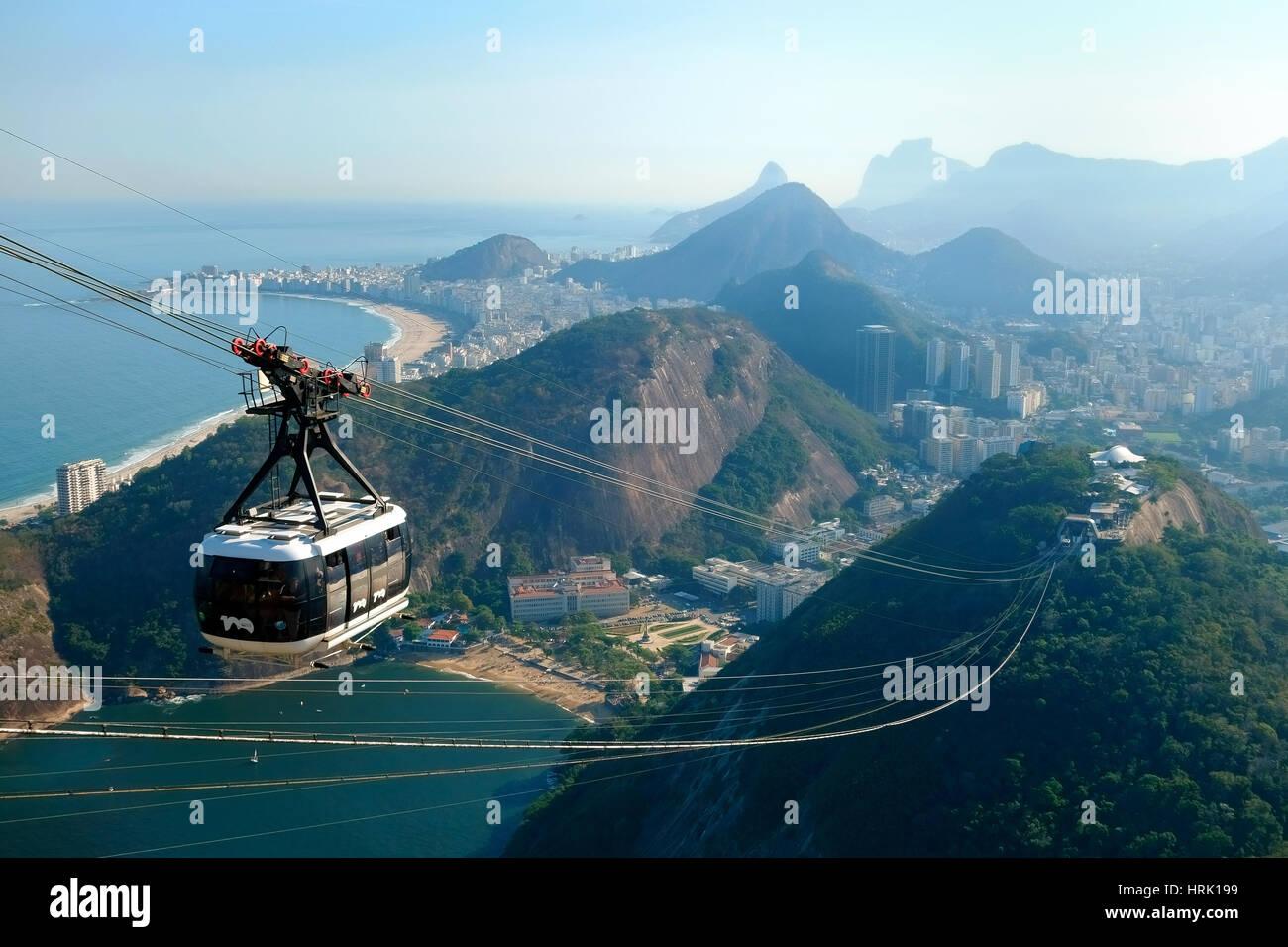 Cableway to the Sugarloaf Mountain, at back Copacabana, Rio de Janeiro, Brazil Stock Photo