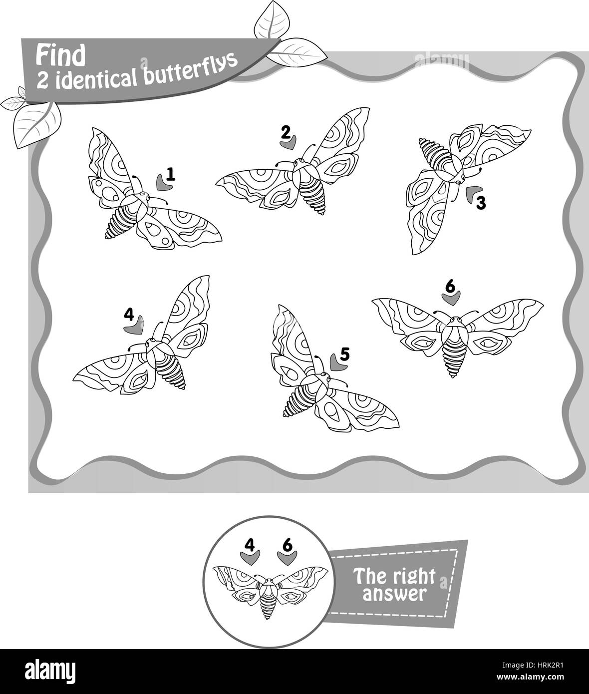 Visual Game Coloring Book For Children And Adults Task To Find 2 Identical Butterflys Black White Vector Illustration