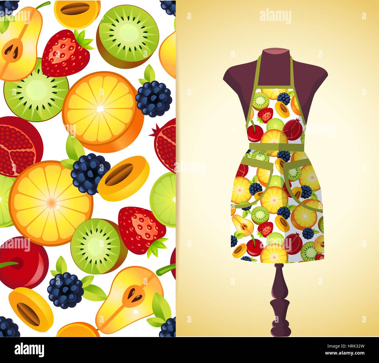 Vector Fashion Illustration, Womenu0027s Kitchen Apron On A Dummy. Seamless  Vector Background Pattern, Isolated Elements For Invitation Card Design.  Seam