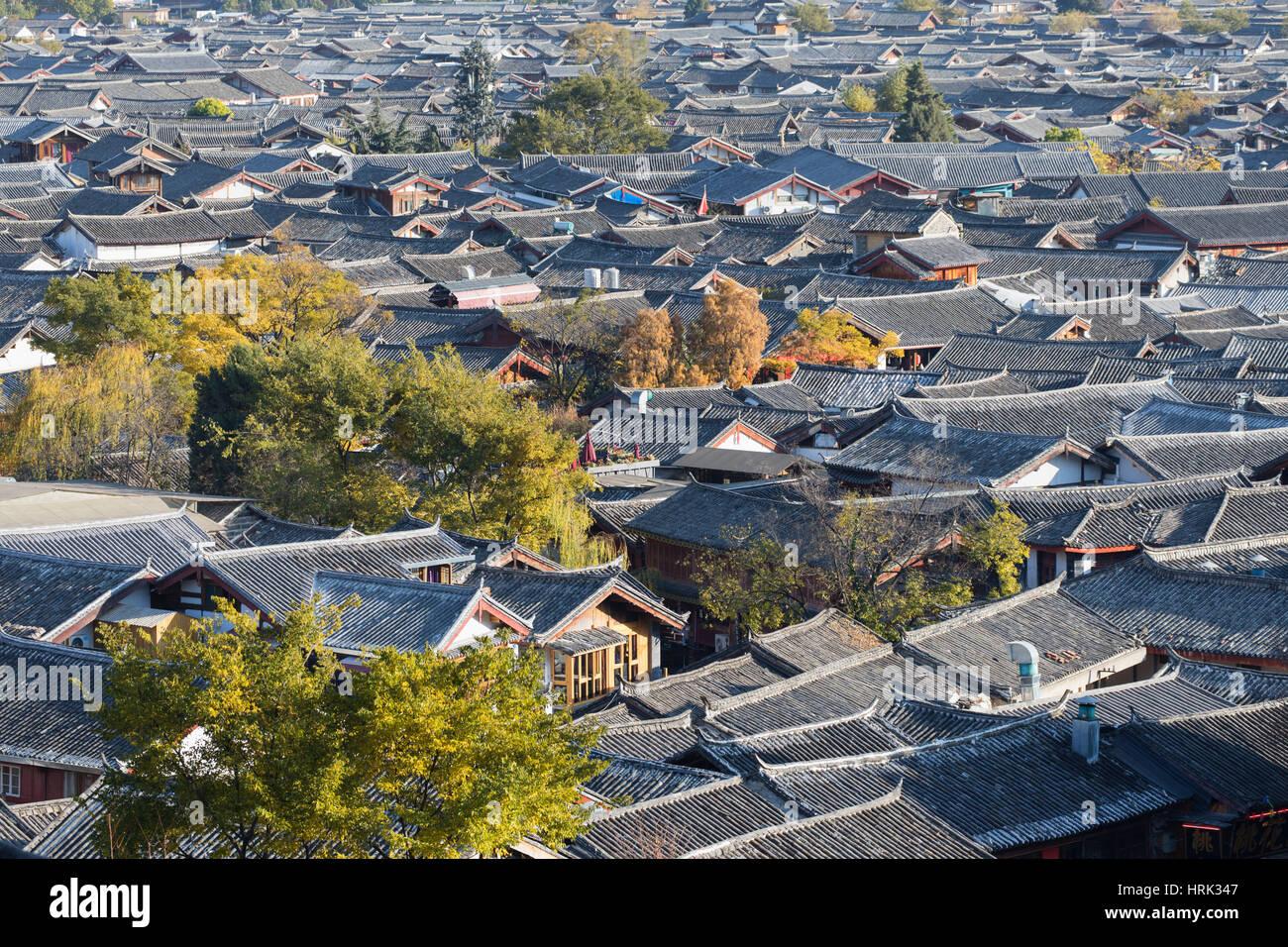 View of Lijiang (UNESCO World Heritage Site), Yunnan, China - Stock Image