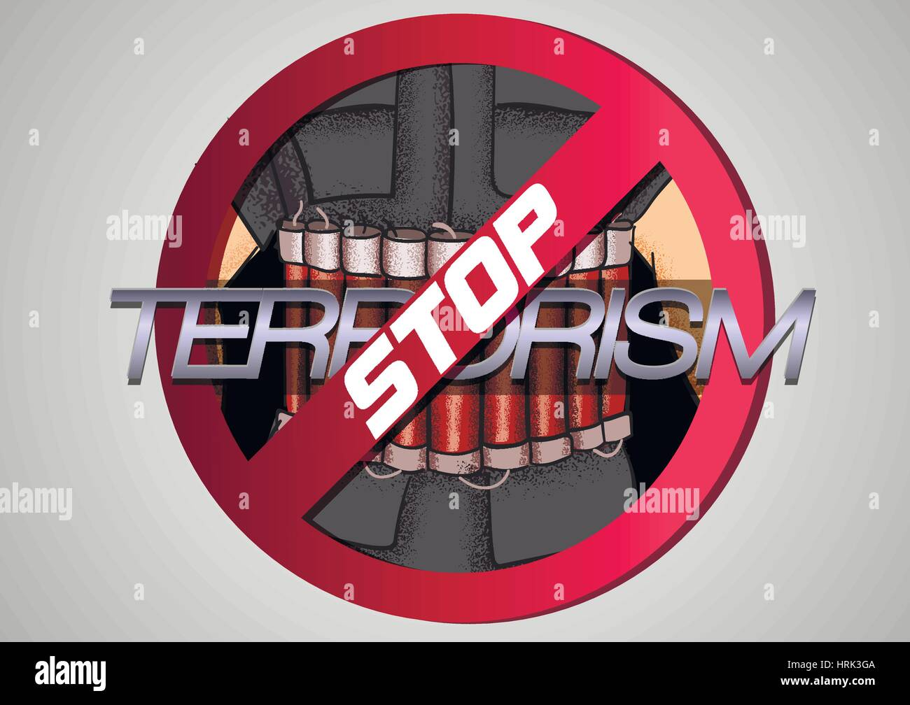 Stop The Terror. Icon against violence and terror Stock Vector
