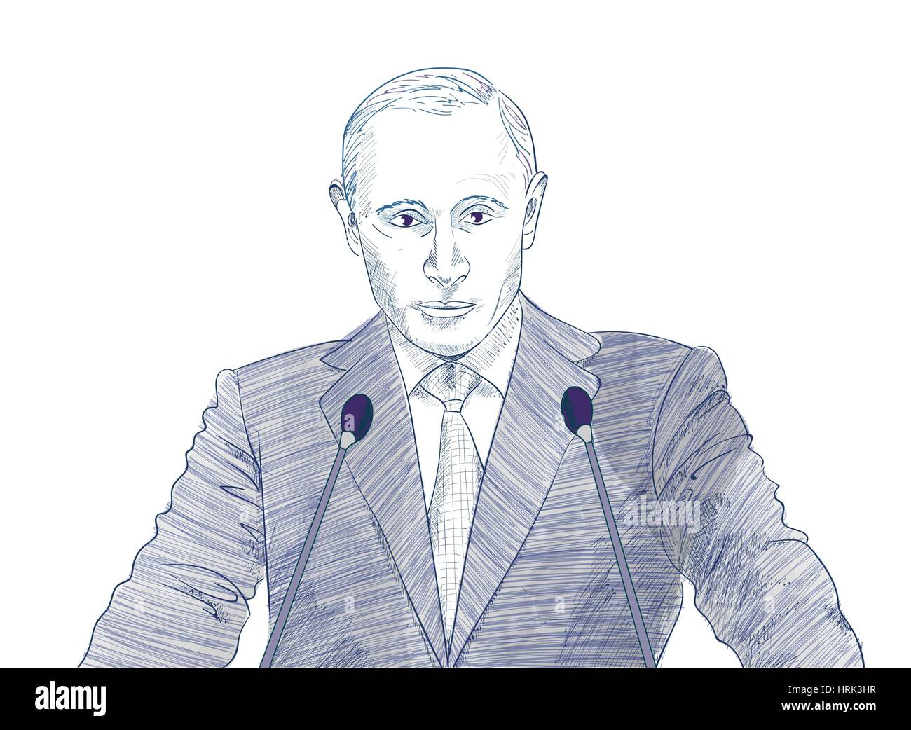 Vector illustration, portrait of President Vladimir Putin - Stock Image