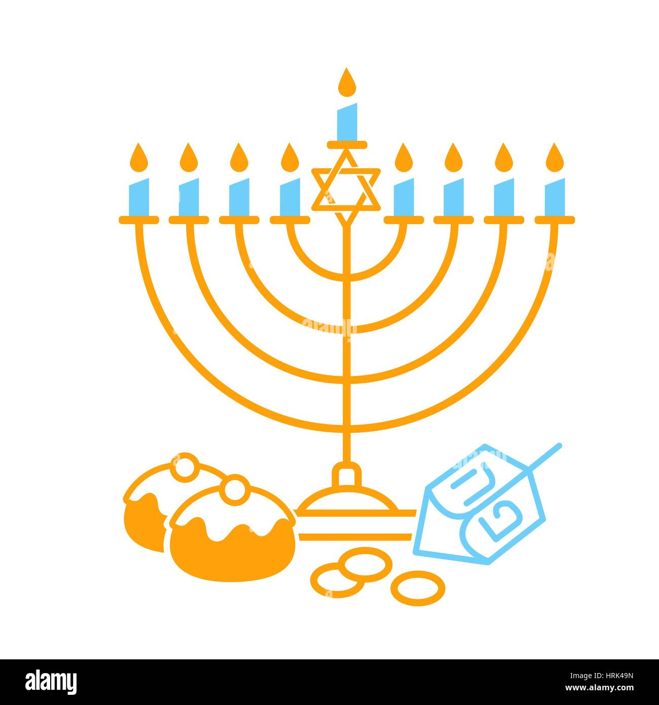 Vector illustration of happy Hanukkah  on white background. Judaism candelabrum symbol. Happy Hanukkah logo for - Stock Image