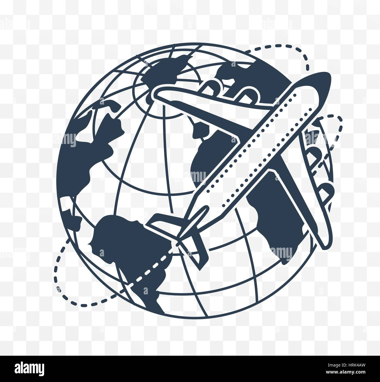 Icon silhouette of an airplane on the background earth - Stock Image