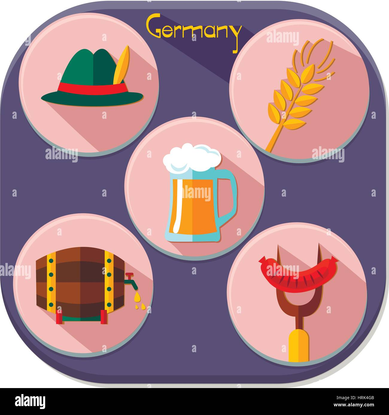 Germany elements collection illustration. Germany  infographics and set of icons - Stock Vector