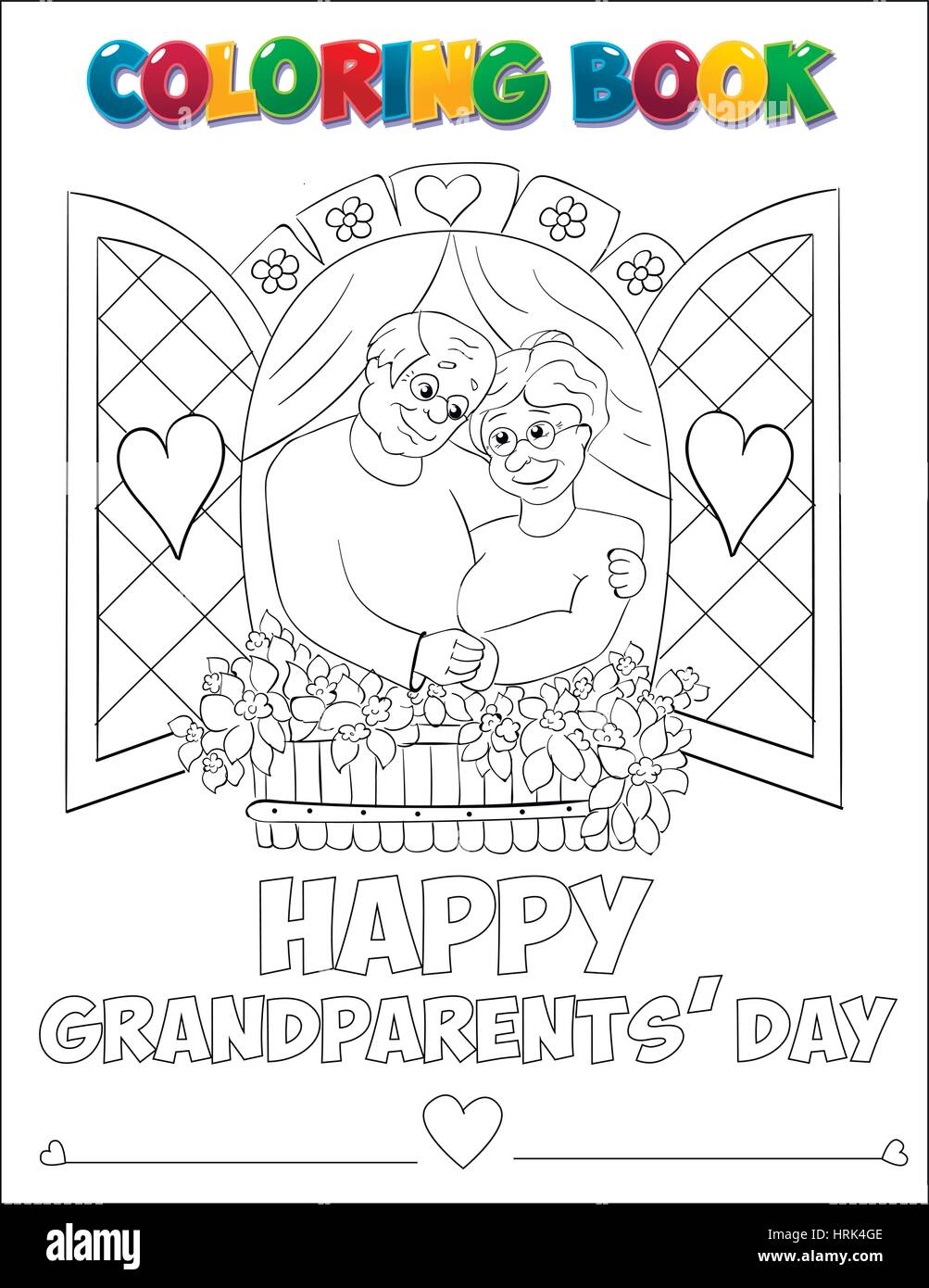 Coloring book Grandparents Day - vector illustration. - Stock Image
