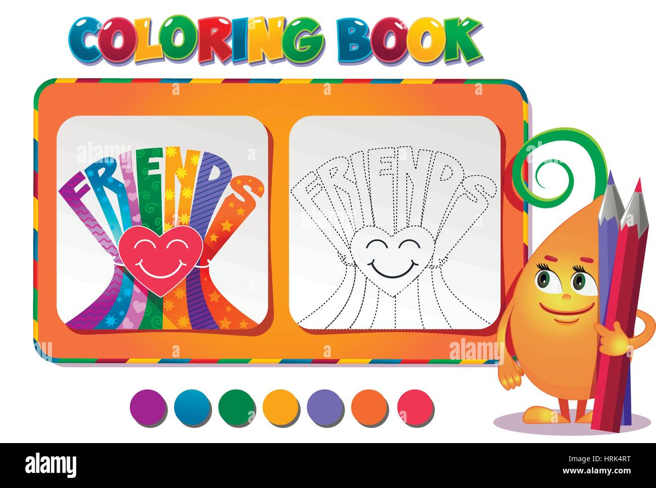 Choose The Color Of The Figure Coloring Book About Friendship Day