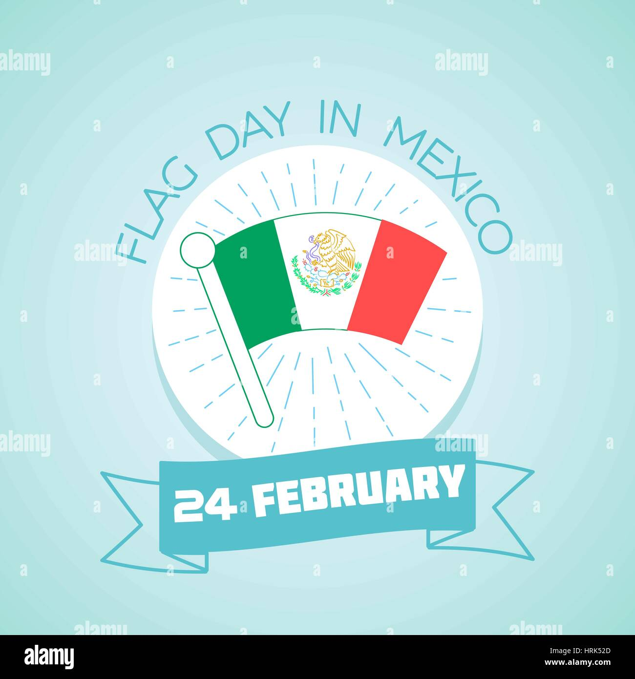 February24 Greeting Card Holiday Flag Day In Mexico Icon In The