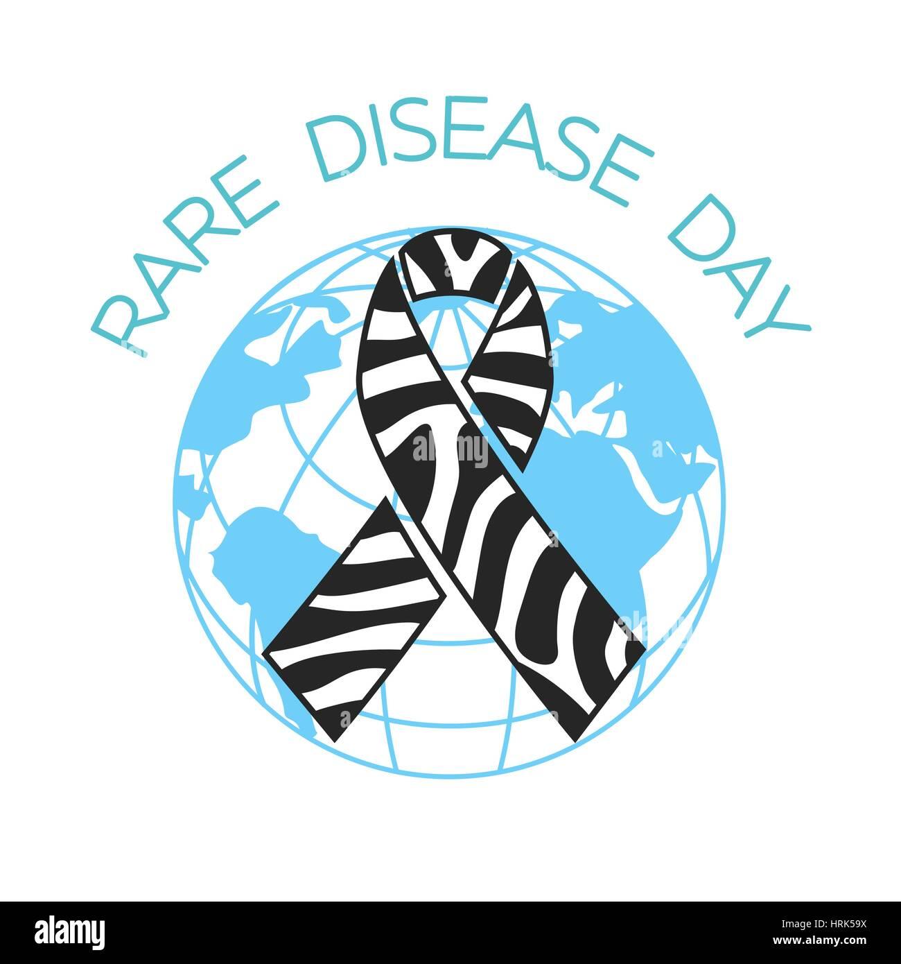 Zebra Print Ribbon Symbol Of Rare Disease Awareness Vector Stock