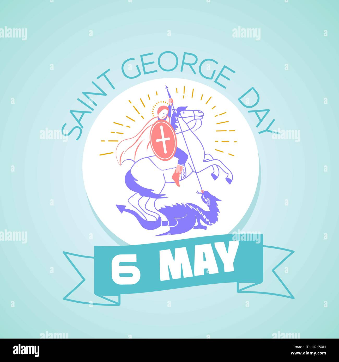 Calendar for each day on may 6. Greeting card. Holiday - Saint Georgi. Icon in the linear style - Stock Vector