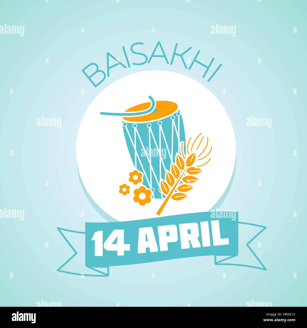 Calendar for each day on April 14. Holiday - Baisakhi ( Vaisakhi) .  education eco Icon in the linear style. Day - Stock Vector