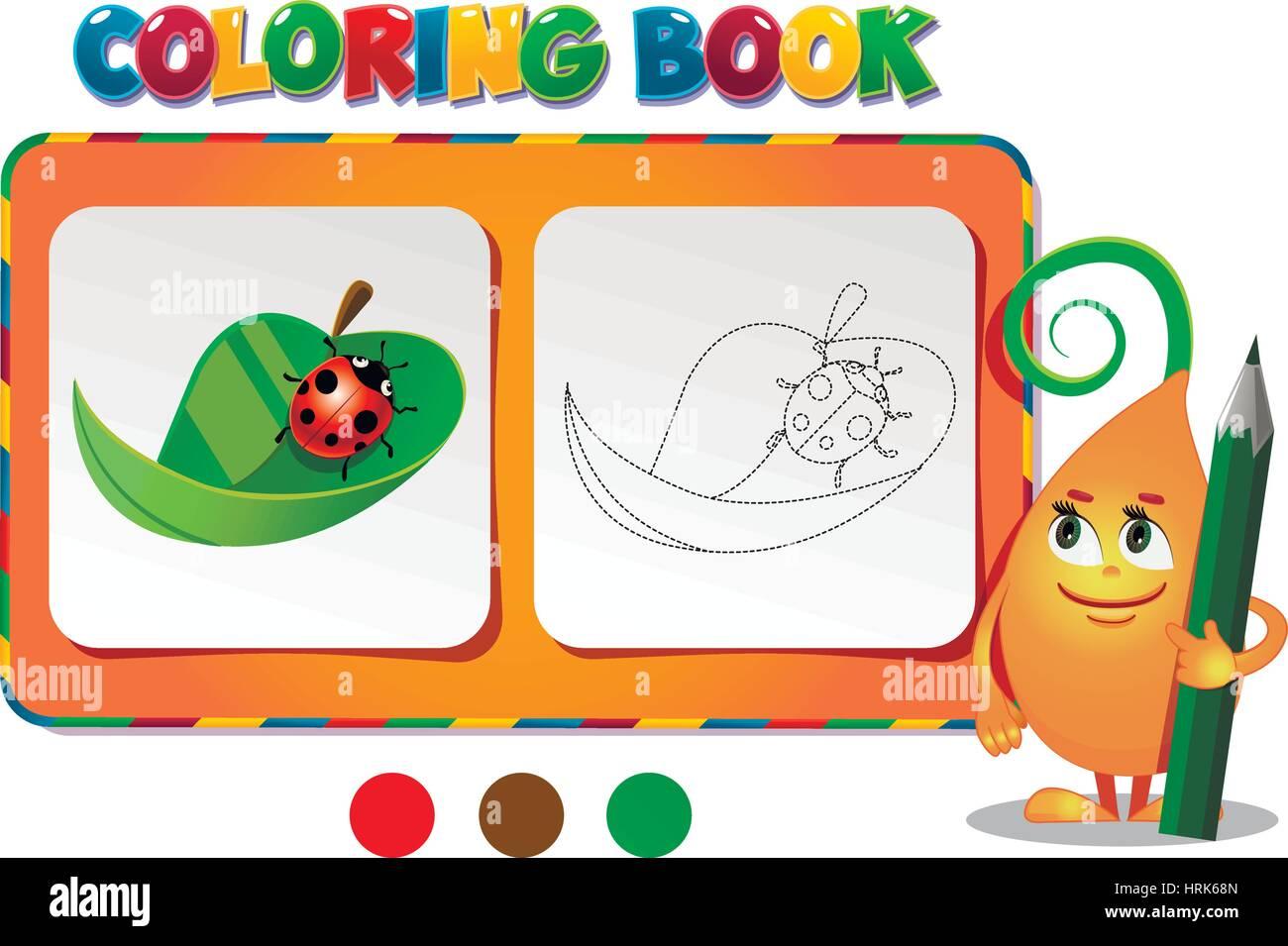 Coloring book ladybug on a leaf - vector illustration. - Stock Image
