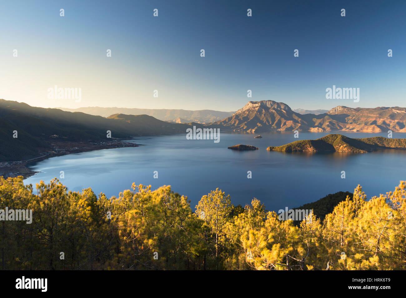 View of Lugu Lake, Yunnan, China - Stock Image
