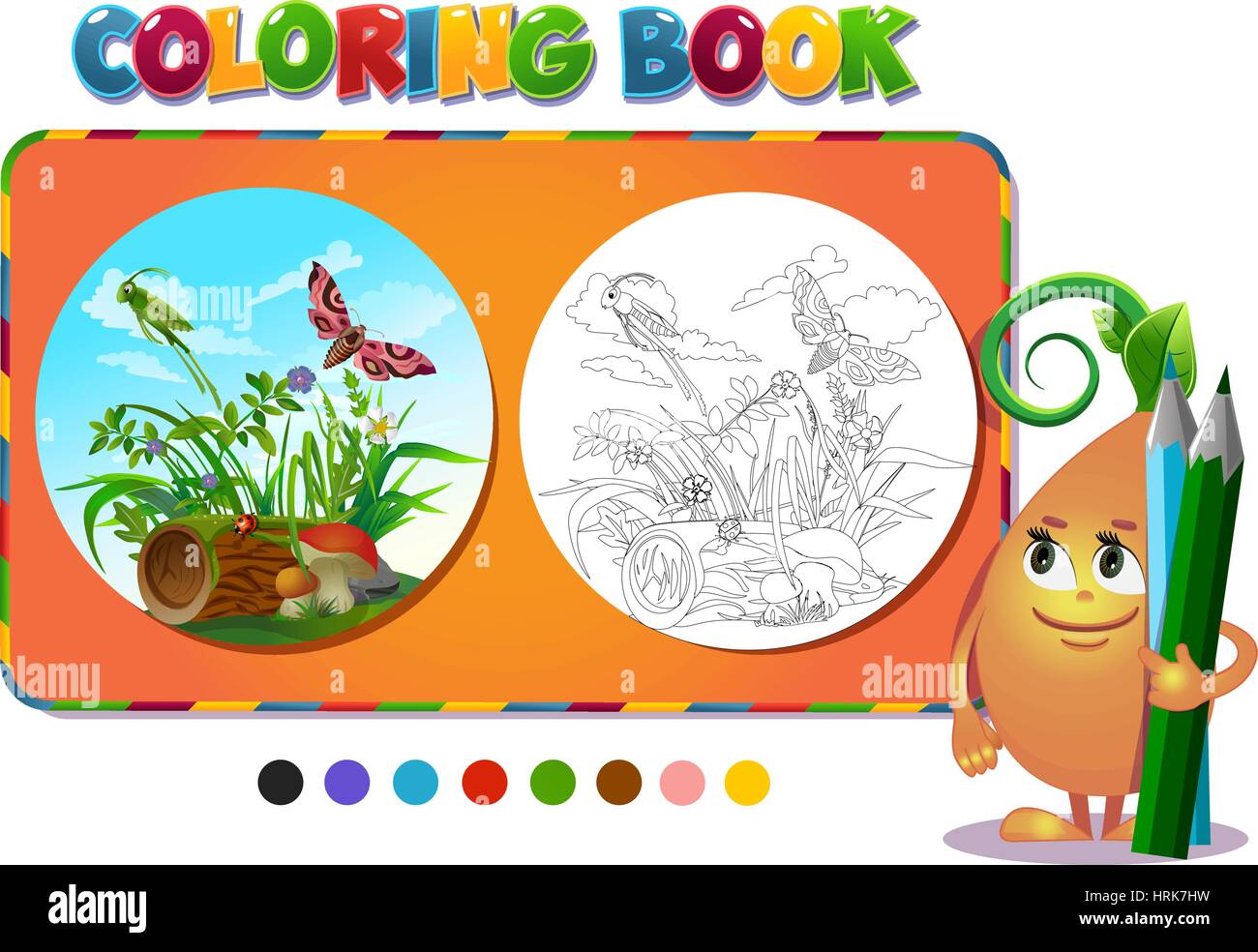 Coloring book insects in the forest glade - vector illustration. - Stock Image