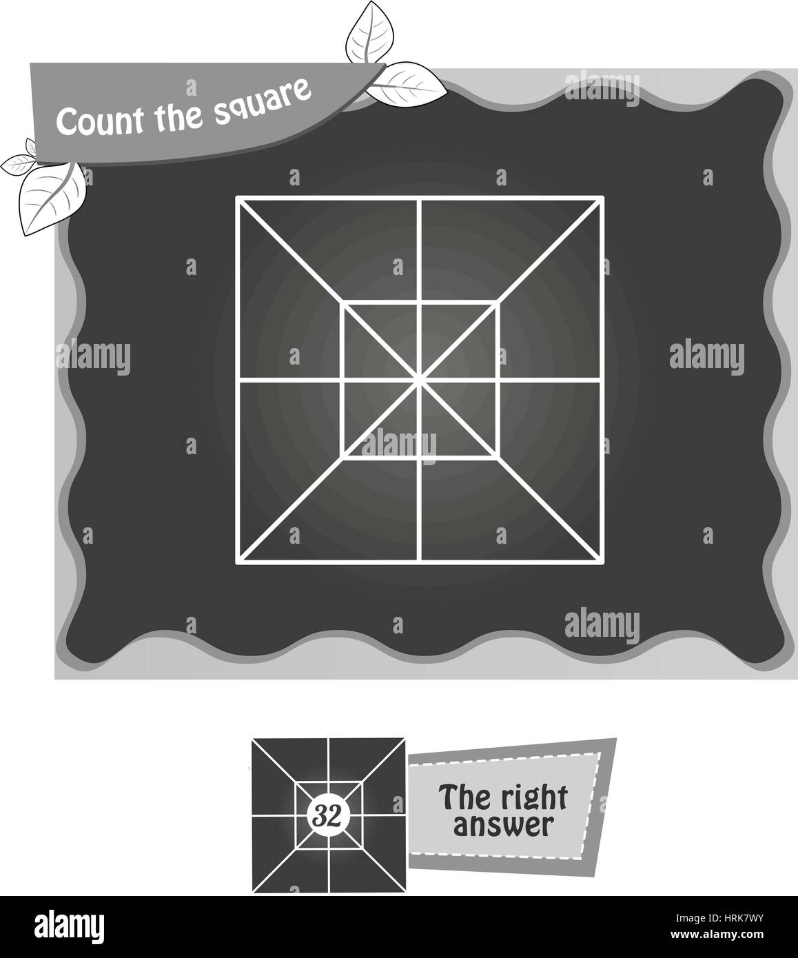 visual game for children. Task: count the squares. black and white vector illustration - Stock Vector