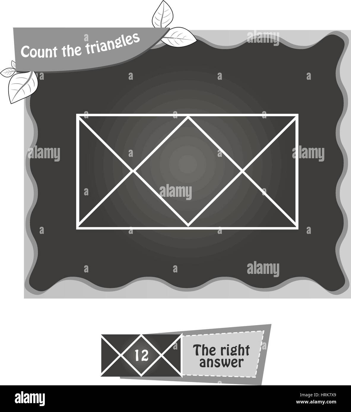 visual game for children. Task: count the triangles. black and white vector illustration - Stock Vector