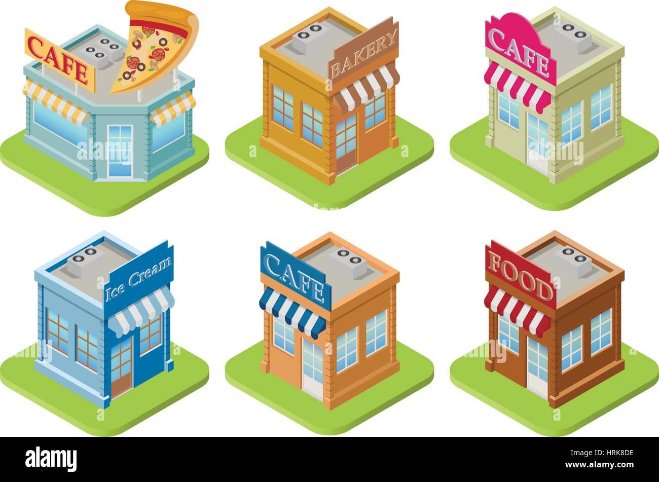 Set of isometric buildings - Stock Image
