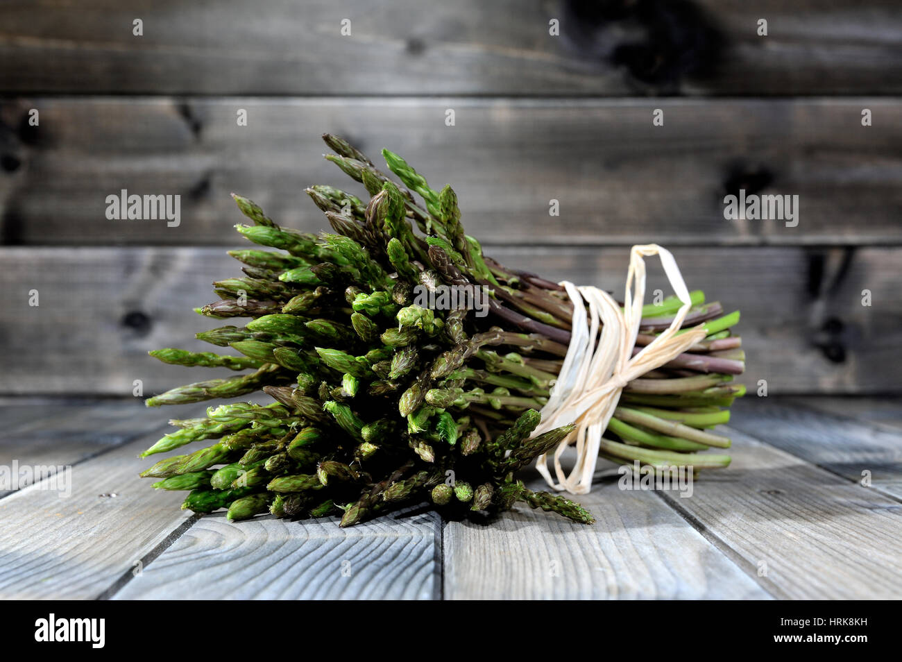 Close-up of tasty natural and vitamin-rich fresh asparagus freshly picked in the countryside, photographed on an Stock Photo