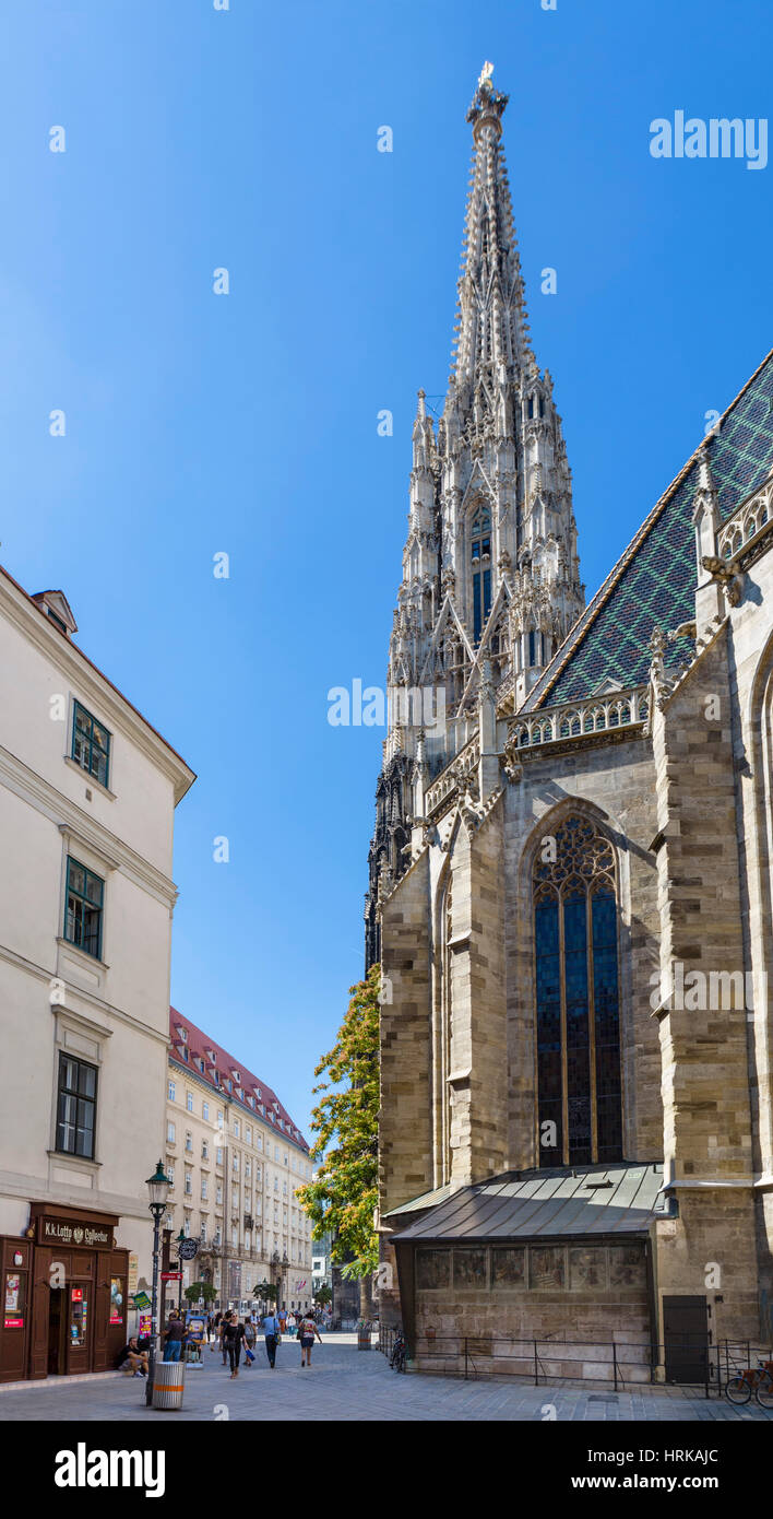 Stephansdom, Vienna. The spire of St Stephen's Cathedral, Vienna, Austria - Stock Image