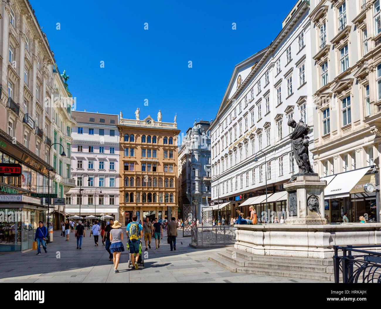 Shops on the Graben, Innere Stadt, Vienna, Austria - Stock Image