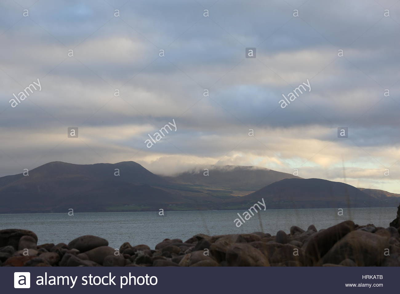 Soft light on mountains in the West of Ireland - Stock Image