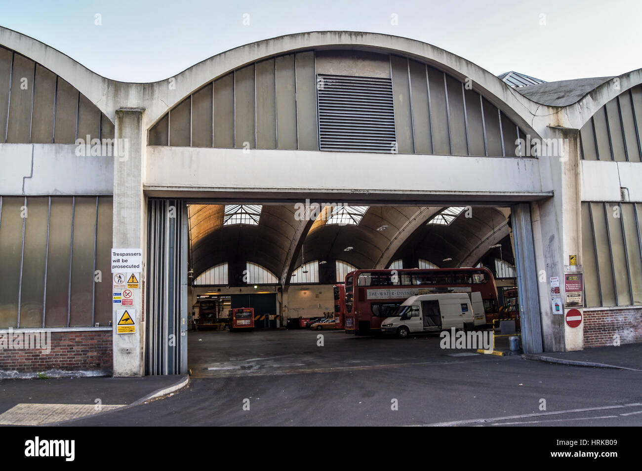 Stockwell Bus Garage by A .E. Beer and Adie, Button & Partners, 1952, Stockwell, London, England - Stock Image