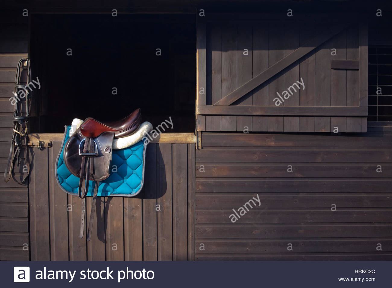 English saddle and bridle hanging from stable horse riding equipment UK - Stock Image