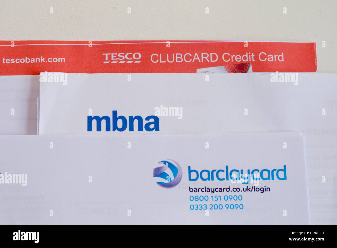 Tesco bank stock photos tesco bank stock images alamy stack of credit card statements including tesco bank barclaycard and mbna indicative of the colourmoves Images
